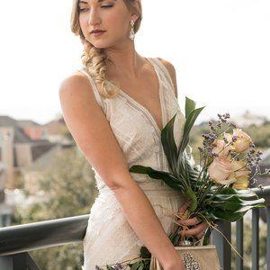 Tadashi Oreti Long Boho Inspired Bridal Dress